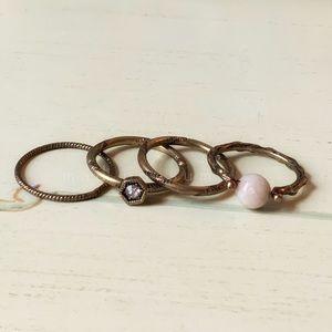 Handmade Turkish Stone Midi Ring Set 4 Pcs
